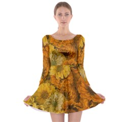 Yellow Zinnias Long Sleeve Skater Dress