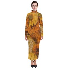 Yellow Zinnias Turtleneck Maxi Dress