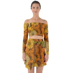Yellow Zinnias Off Shoulder Top With Skirt Set