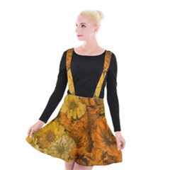 Yellow Zinnias Suspender Skater Skirt