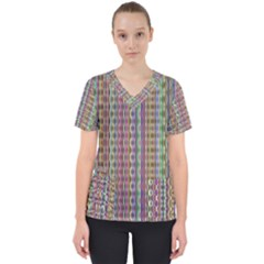 Psychedelic Background Wallpaper Women s V Neck Scrub Top