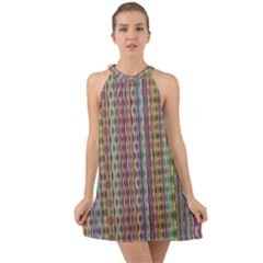 Psychedelic Background Wallpaper Halter Tie Back Chiffon Dress by Samandel