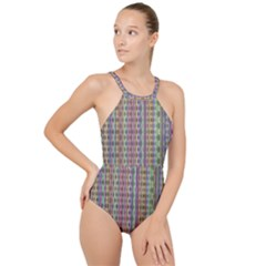 Psychedelic Background Wallpaper High Neck One Piece Swimsuit
