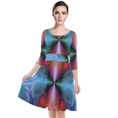 Fractal Background Design Quarter Sleeve Waist Band Dress