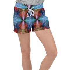 Fractal Background Design Women s Velour Lounge Shorts