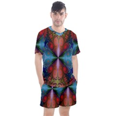 Fractal Background Design Men s Mesh Tee And Shorts Set