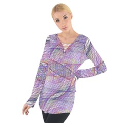 Purple Background Abstract Pattern Tie Up Tee