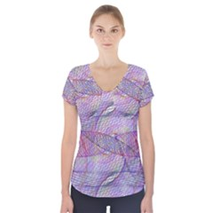 Purple Background Abstract Pattern Short Sleeve Front Detail Top