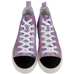 Purple Background Abstract Pattern Men s Mid Top Canvas Sneakers
