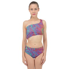 Fractal Bright Fantasy Design Spliced Up Two Piece Swimsuit
