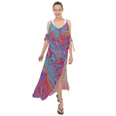 Fractal Bright Fantasy Design Maxi Chiffon Cover Up Dress