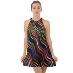Psychedelic Background Wallpaper Halter Tie Back Chiffon Dress