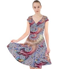 Fractal Artwork Design Pattern Cap Sleeve Front Wrap Midi Dress