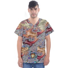 Fractal Artwork Design Pattern Men s V Neck Scrub Top