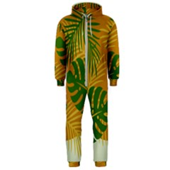 Leaf Leaves Nature Green Autumn Hooded Jumpsuit (men)