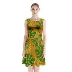 Leaf Leaves Nature Green Autumn Sleeveless Waist Tie Chiffon Dress