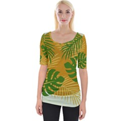Leaf Leaves Nature Green Autumn Wide Neckline Tee