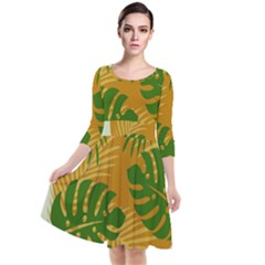 Leaf Leaves Nature Green Autumn Quarter Sleeve Waist Band Dress