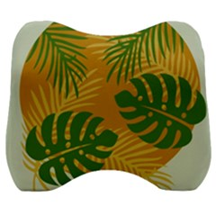Leaf Leaves Nature Green Autumn Velour Head Support Cushion by Samandel