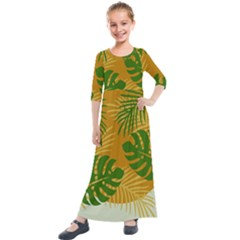 Leaf Leaves Nature Green Autumn Kids  Quarter Sleeve Maxi Dress by Samandel