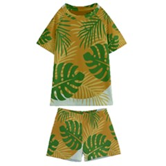Leaf Leaves Nature Green Autumn Kids  Swim Tee And Shorts Set