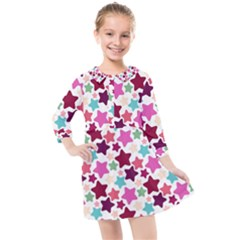 Stars Pattern Kids  Quarter Sleeve Shirt Dress