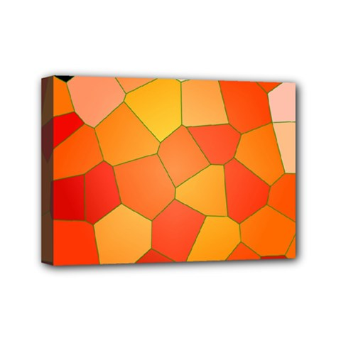 Background Pattern Of Orange Mosaic Mini Canvas 7  X 5  (stretched) by Samandel