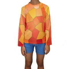 Background Pattern Of Orange Mosaic Kids  Long Sleeve Swimwear by Samandel