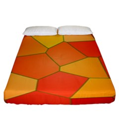 Background Pattern Of Orange Mosaic Fitted Sheet (king Size)