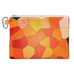 Background Pattern Of Orange Mosaic Canvas Cosmetic Bag (xl)