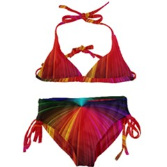 Background Color Colorful Rings Kids  Classic Bikini Set