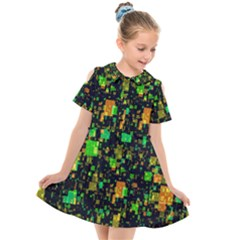 Squares And Rectangles Background Kids  Short Sleeve Shirt Dress