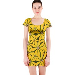 Texture Flowers Nature Background Short Sleeve Bodycon Dress