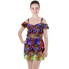 Splashes Of Color Background Ruffle Cut Out Chiffon Playsuit
