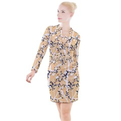 Floral Pattern Background Button Long Sleeve Dress