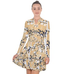 Floral Pattern Background Long Sleeve Panel Dress
