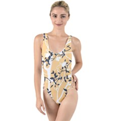 Floral Pattern Background High Leg Strappy Swimsuit