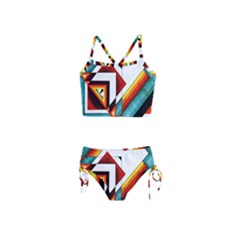Diamond Acrylic Paint Pattern Girls  Tankini Swimsuit by Samandel