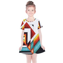 Diamond Acrylic Paint Pattern Kids  Simple Cotton Dress by Samandel