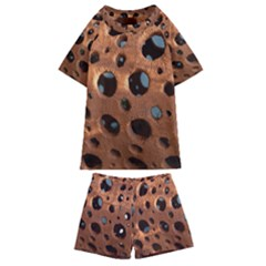 Texture Pattern Wallpaper Background Pattern Holes Kids  Swim Tee And Shorts Set