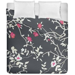 Black And White Floral Pattern Background Duvet Cover Double Side (california King Size)