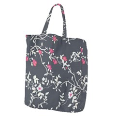 Black And White Floral Pattern Background Giant Grocery Tote