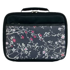 Black And White Floral Pattern Background Lunch Bag