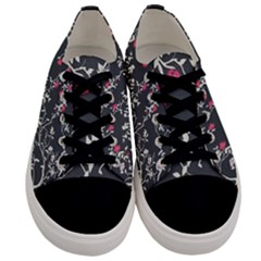 Black And White Floral Pattern Background Men s Low Top Canvas Sneakers