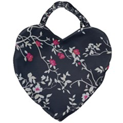 Black And White Floral Pattern Background Giant Heart Shaped Tote