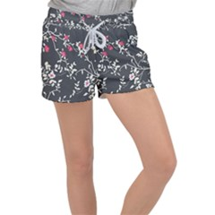 Black And White Floral Pattern Background Women s Velour Lounge Shorts