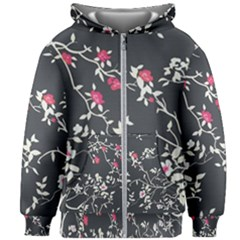 Black And White Floral Pattern Background Kids Zipper Hoodie Without Drawstring