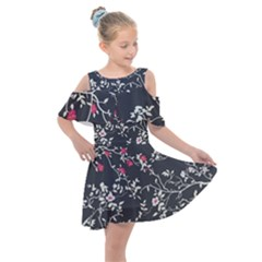 Black And White Floral Pattern Background Kids  Shoulder Cutout Chiffon Dress