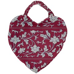 Floral Pattern Background Giant Heart Shaped Tote by Samandel