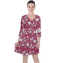 Floral Pattern Background Ruffle Dress